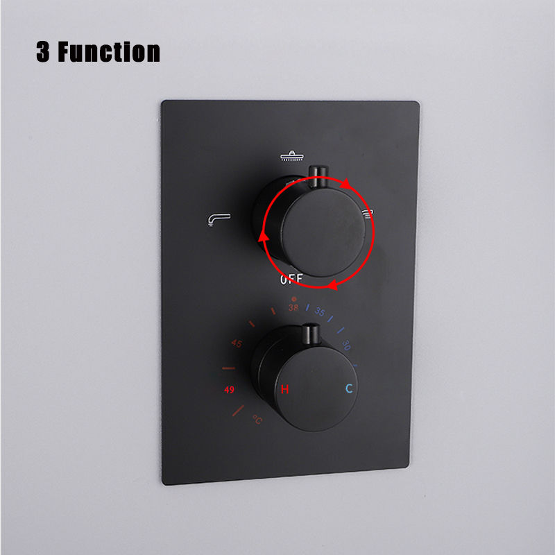 Image 5 - Batheroom Thermostatic Shower Faucets Black Luxury Waterfall Shower Head Thermostatic 3 Ways Valve Bathroom Shower Faucet SetsShower Faucets   -