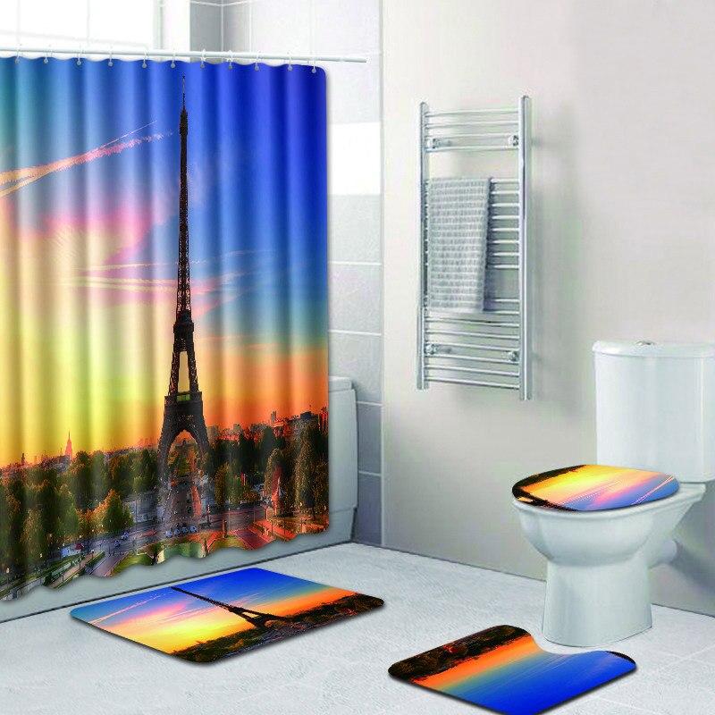 Célèbre tour impression rideau de bain imperméable Polyester tissu lavable salle de bain rideau de douche écran avec crochets accessoires