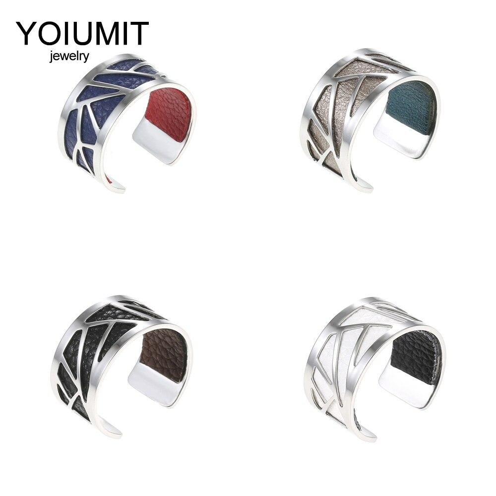 Cremo DIY Anel Aberto anel de Dedo Redimensionável Para Mulheres Bijoux Argent Femme homme Bague anel De Couro Intercambiáveis de aço inoxidável