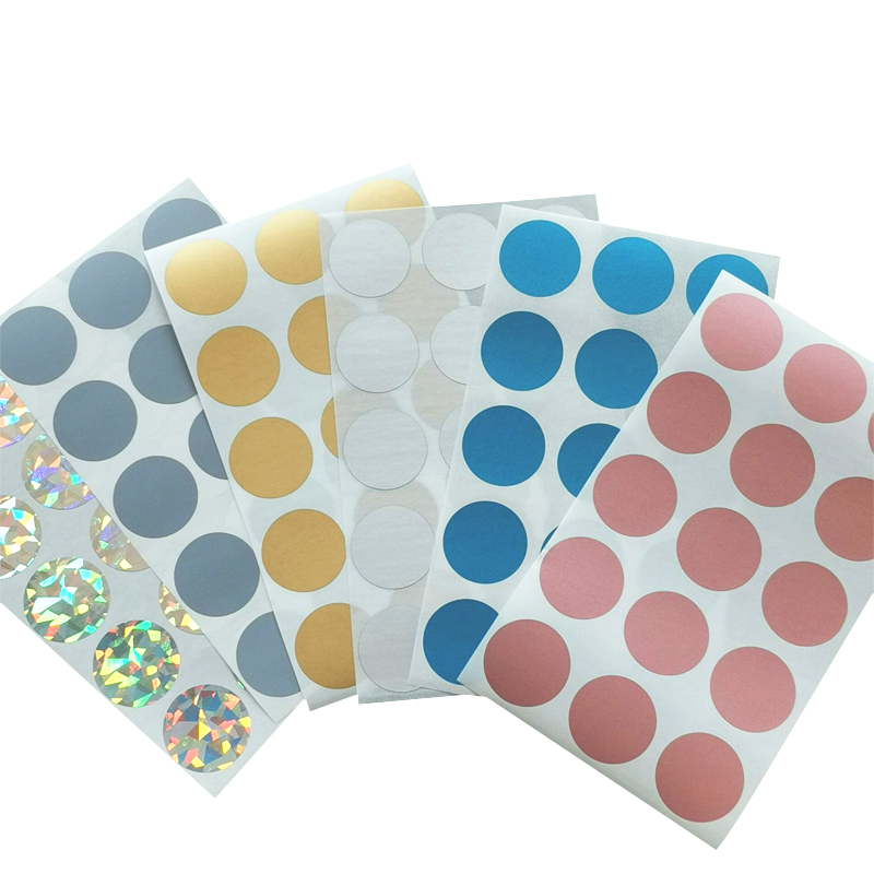 100Pcs/pack Round Sticker For Party Activity Favors Scratched Stripe Card Film Sealing Stickers