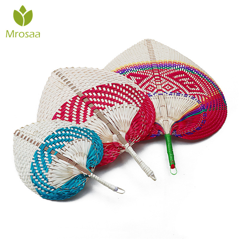 Pushan Arts Manual Straw Hand Made Fan Peach Shaped Bamboo Baby Mosquito Repellent Fan Summer Cool Air Fan DIY Characteristic