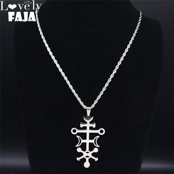 Lovely FAJA Sceal Sigil of Lilith Stainless Steel Satan Necklace Men Minor Key Necklace Hidden Seal Goetia Sign Jewelry N1051S03 image