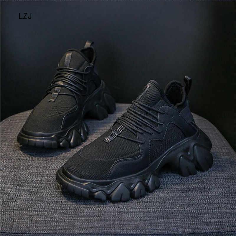 LZJ 2019 bahar yüksek platformu çizmeler kadın kalın taban ayakkabı deri kama Sneakers su geçirmez nefes alan günlük ayakkabılar 35-39