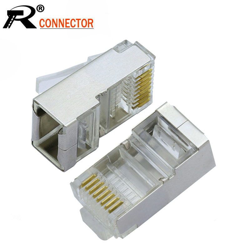 50PCS//LOT Hi-Quality Crystal shielded modular CAT6 RJ45 Plug Connector Two parts
