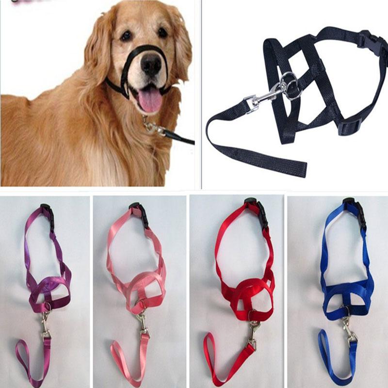 Harness Adjustable Muzzle Dog Halter Leader Belt Dog Collar Head Collar No Pull Bite Straps Training Leash Leader