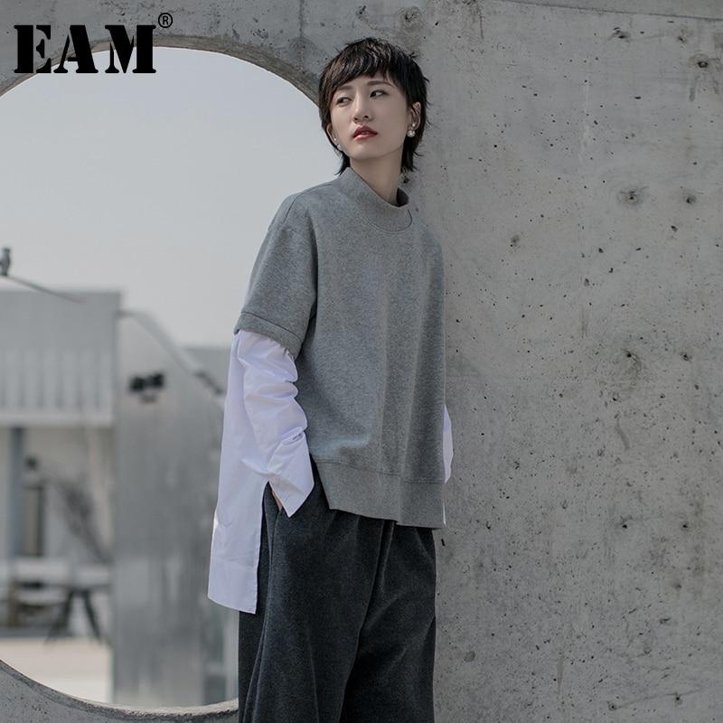 [EAM] Women Back Long Asymmetrical Big Size T-shirt New Stand Collar Long Sleeve  Fashion Tide  Spring Autumn 2020 1R609