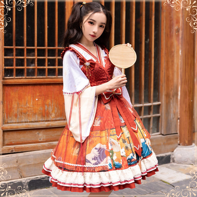 Фото японское винтажное милое платье в стиле лолиты с перекрещивающимися цена