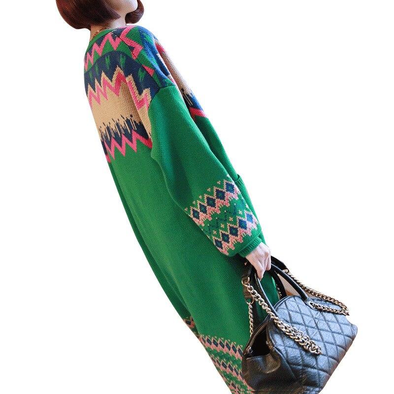Camisola para Mulheres Lugentolo Camisola Feminina Outono Nova Malha Cardigan Solto Casual Moda Bolsos Listrado Impressão Longa Completas