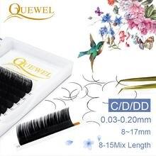 Quewel Individual False Eyelash Extension Matte Black Lashes Faux Natural Eyelashes Thick C/D/DD Curl Soft Lash 8-17mm Mix