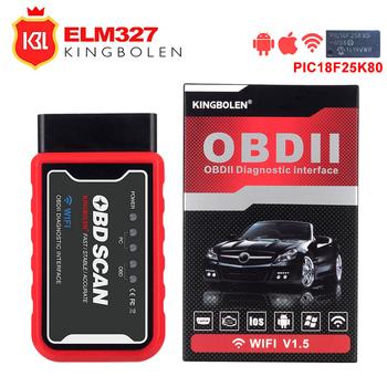 ELM327 Wifi Bluetooth V1 5 PIC18F25K80 Chip czytnik kodów OBD2 ELM327 V1 5 narzędzie diagnostyczne OBDII dla androida IOS PC PK elm ICAR 2 tanie i dobre opinie KINGBOLEN OBD2 PIC18F25K80 Chip Code Reader ELM 327 Grecki Polski Korea Niemiecki Włoski Rosyjski Dutch Denish Portugalski