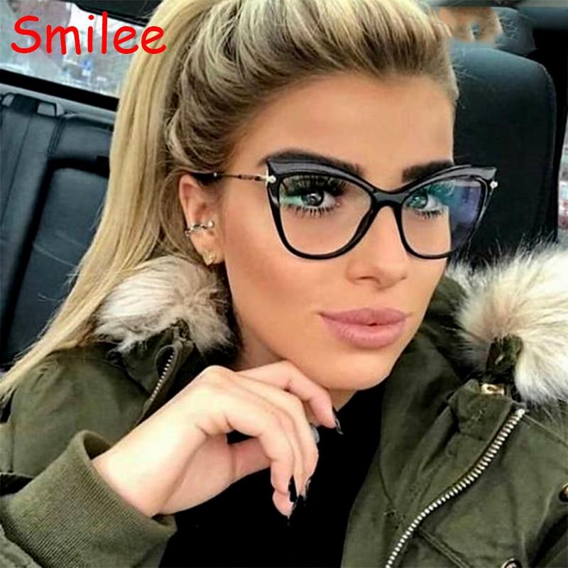 Optik gözlük kedi göz gözlük kadın gözlük çerçeve şeffaf şeffaf Lens moda marka tasarımcısı bilgisayar miyopi gözlük