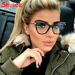 Optical Eyeglasses Cat Eye Glasses Women Spectacle Frame Transparent Clear Lens Fashion Brand Designer Computer Myopia Glasses