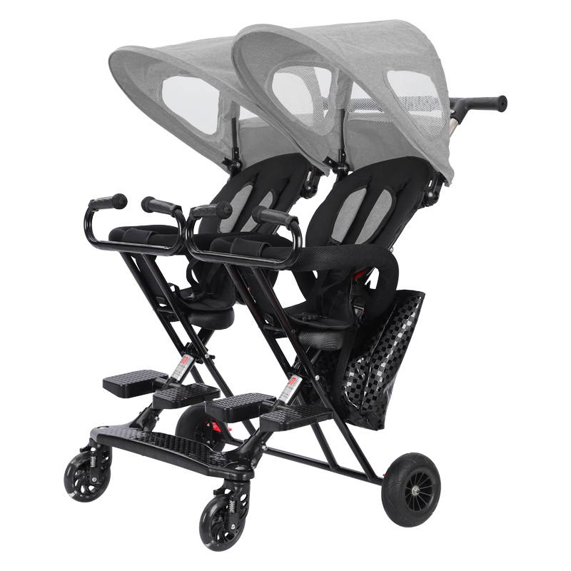 Twin Baby Walking Tool Double Stroller Lightweight Folding Baby Child Reclining Large Pedal Baby Carriage