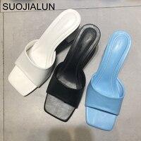 SUOJIALUN 2020 nouvelle marque femmes pantoufle été en plein air sandale carré haut talon sans lacet bascule femmes élégantes diapositives sandale