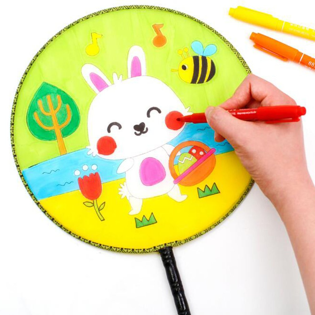 Round Fan Children Diy Hand-painted Blank Fan Painting White Palace Cool Fan Kindergarten Creative Art Materials