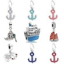 Navio e âncora pingente encantos mar sorte charme caber pulseira pandora original diy grânulo jóias para memorial presente