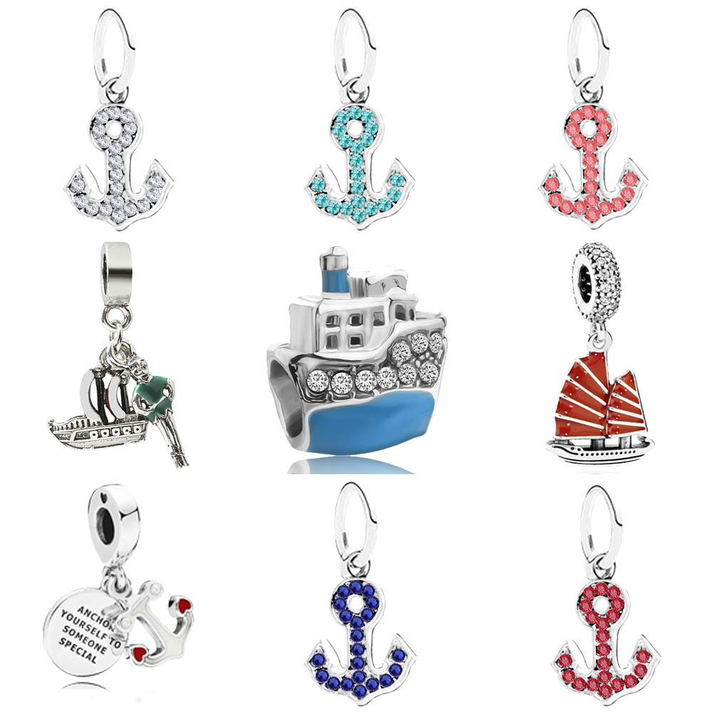 Ship and anchor pendant charms Sea lucky charm fit original pandora bracelet diy bead jewelry for Memorial gift
