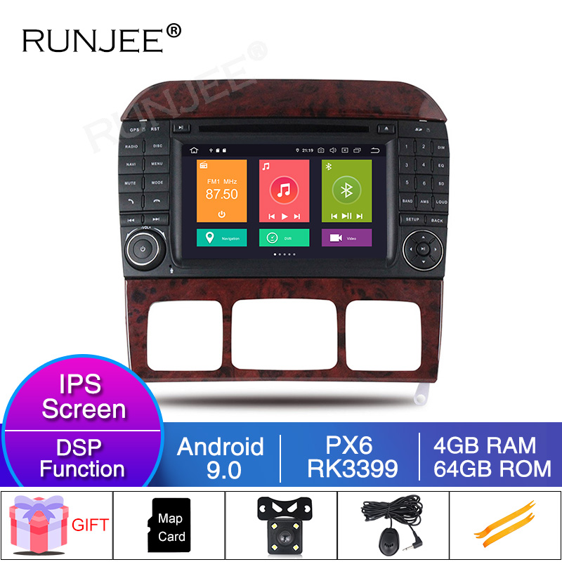 RUNJEE car multimedia player RK3399 4GB car stereo for <font><b>Benz</b></font> S Class <font><b>W220</b></font> S280 S320 S430 <font><b>S500</b></font> S55 W215 CL600 CL55 image