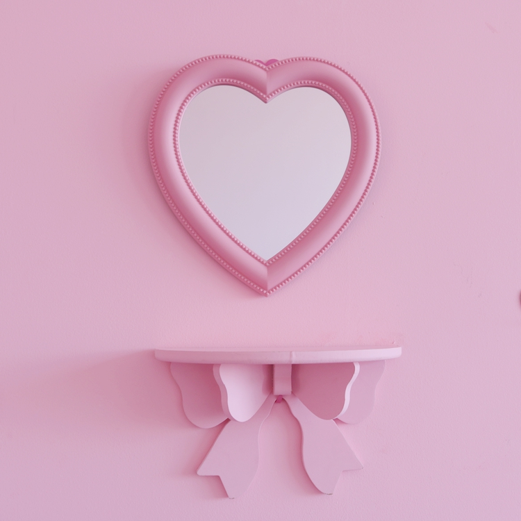 Korean Pink Mirror Wall-mounted Room Love Decoration Girl Heart Pink Colour Peach Makeup Dressing Mirror