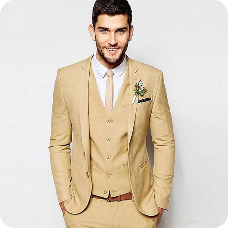 Tailored Classic Men Suit Beach Wedding Suits Groom Tuxedos Bridegroom Men Suits 3 Pieces (Jacket+Pant+Vest) Ternos