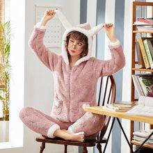 Пижамы женские осенние и зимние милые и милые корейские версии кораллового флиса теплые бархатные толстые фланелевые домашний костюм