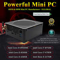 Juego de PC Intel i9 8950HK/i7 8750H 6 núcleos 12 hilos 12M Cache mini pc 2 * M.2 2 * DDR4 2666MHz 32GB Win10 Pro 4K HDMI Mini DP