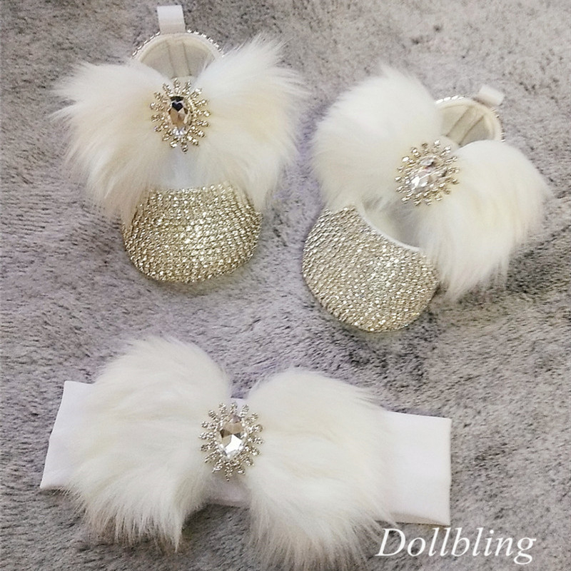 Dollbling Sparkly All Star Crystals Baby Girls Ballet Boutique Infant White Fur Hair Diamond Crib Shoes Newborn Headband Set