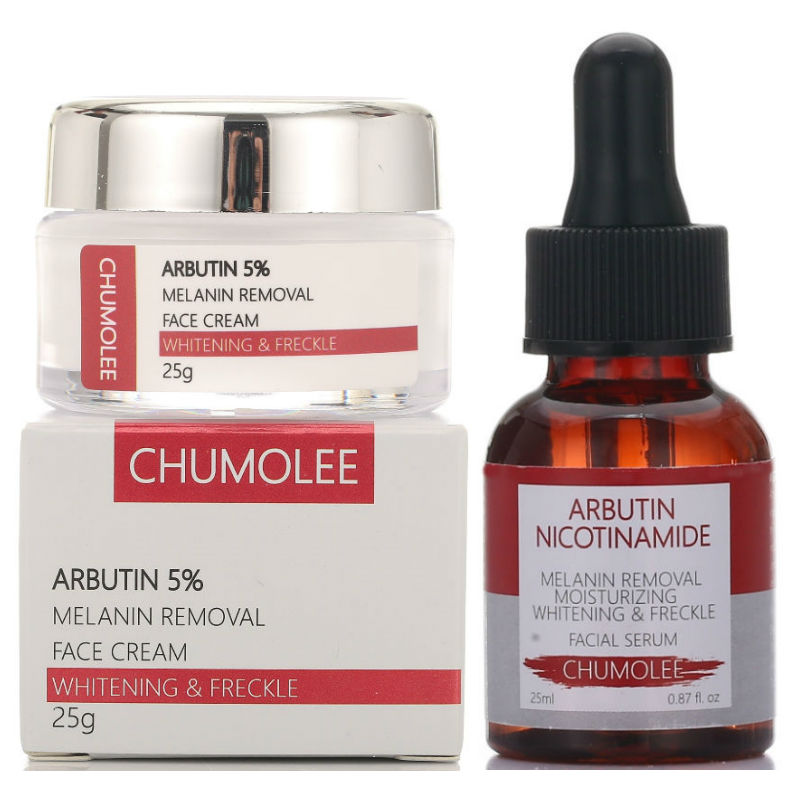 CHUMOLEE Arbutin Whitening Freckle Cream + Alpha Arbutin Argireline Serum Remove Melasma Anti-Aging Face Cream Skin Care Serum
