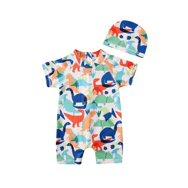 1-6 Years Toddler Boys Swimsuit Dinosaur Print One Piece Swimwear For Boys Sun Protective Safe Swimming Costume Hat Swimming Set