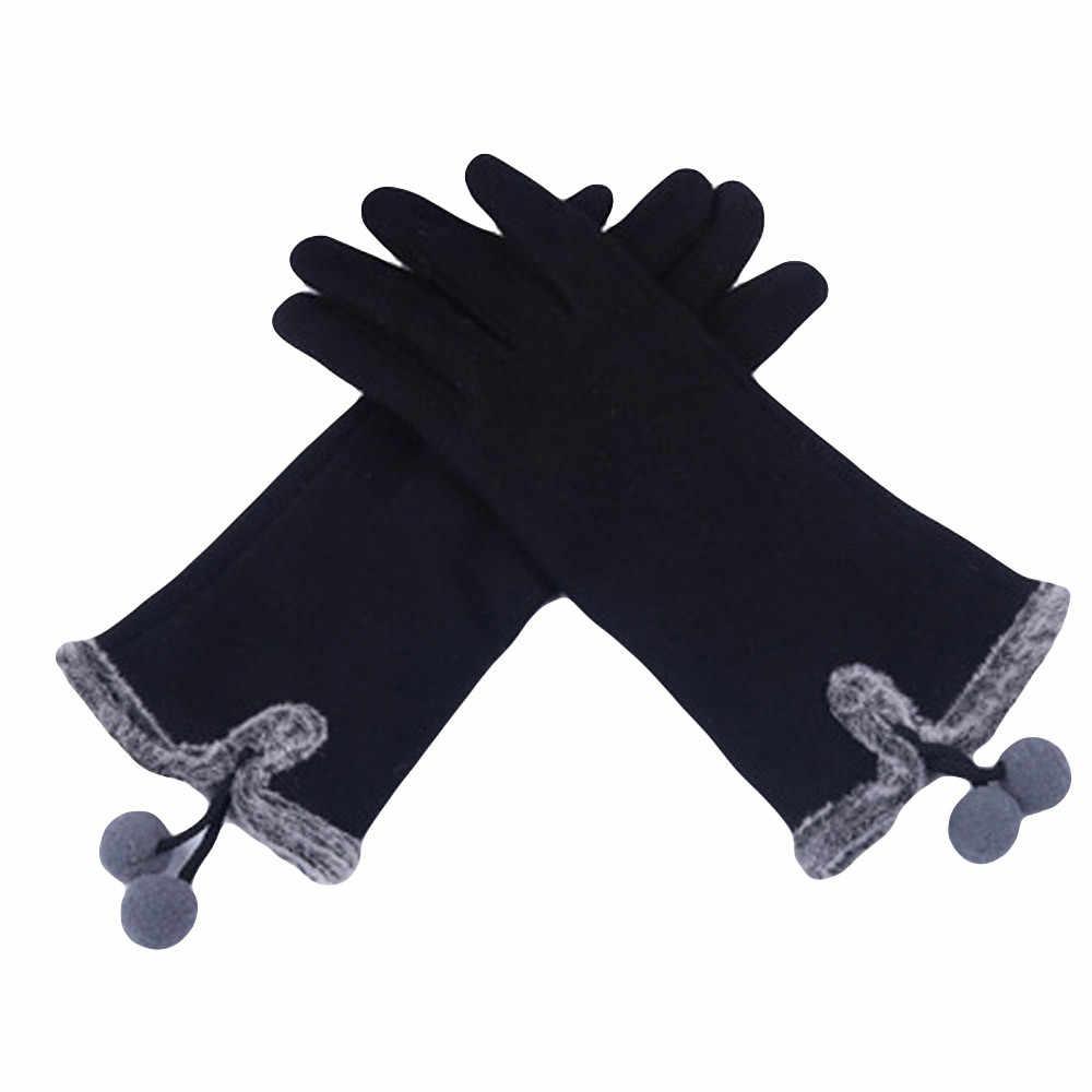 Hairy Ball littens Fluffy ฤดูหนาว WARM Full Finger มือถุงมือฤดูหนาวแฟชั่นผู้หญิงสกีลมป้องกันมือถุงมือ deri eldiven