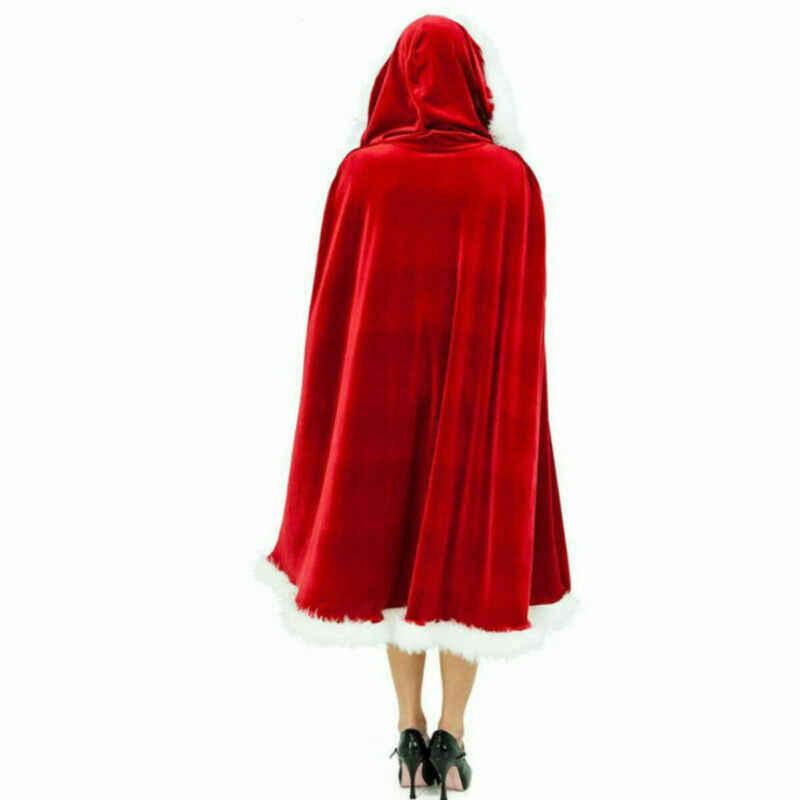 1,2 м Рождество взрослых Дамы Mrs Санта Клаус праздник красный зеленый маскарадный костюм плащ пончо