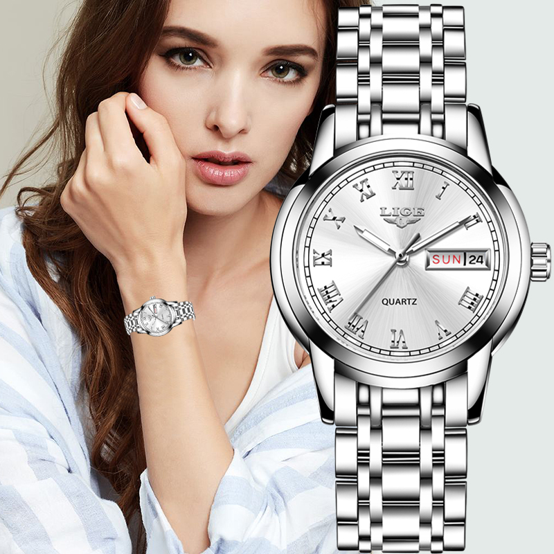Women Watches Simple Stainless Steel Clock LIGE Casual Fashion Watch Women Sport Waterproof Wristwatch Ladies Relogio Feminino