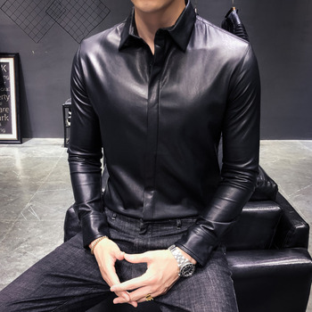 Mens leather jacket 019 autumn and winter trend solid color slim youth personality fashion mens clothing