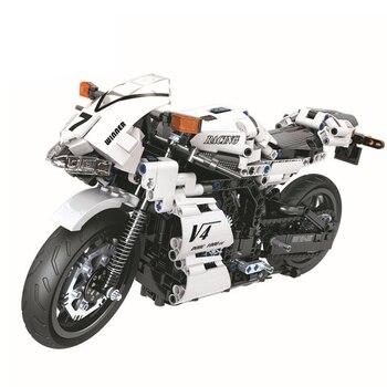 QWZ Technic Moto conjuntos de bloques de construcción modelo de ladrillos niños juguetes clásicos para niños regalos de navidad ciudad vehículo Coche