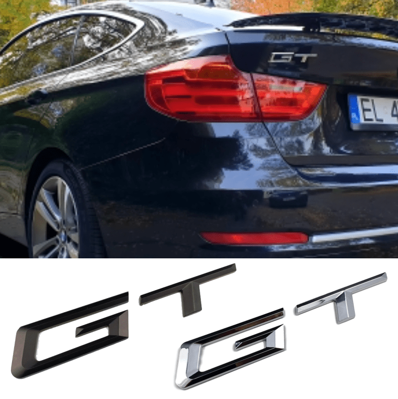 Black Silver Red GT Emblem Badge Stickers for Auto Car Side Fenders Window Bumper Boot Trunk Exterior Decal Black