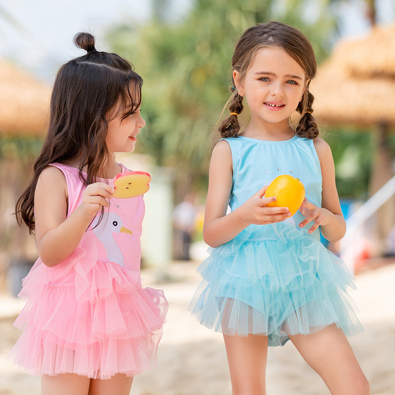 New Style KID'S Swimwear GIRL'S One-piece Princess Dress-Baby Small Girls Infants Cute Tour Bathing Suit Hot Springs