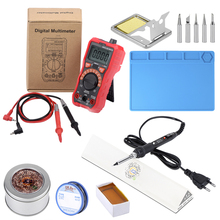 JCD soldering iron kits with Digital multimeter Adjustable Temperature 220V Welding solder iron kits rework station high quality