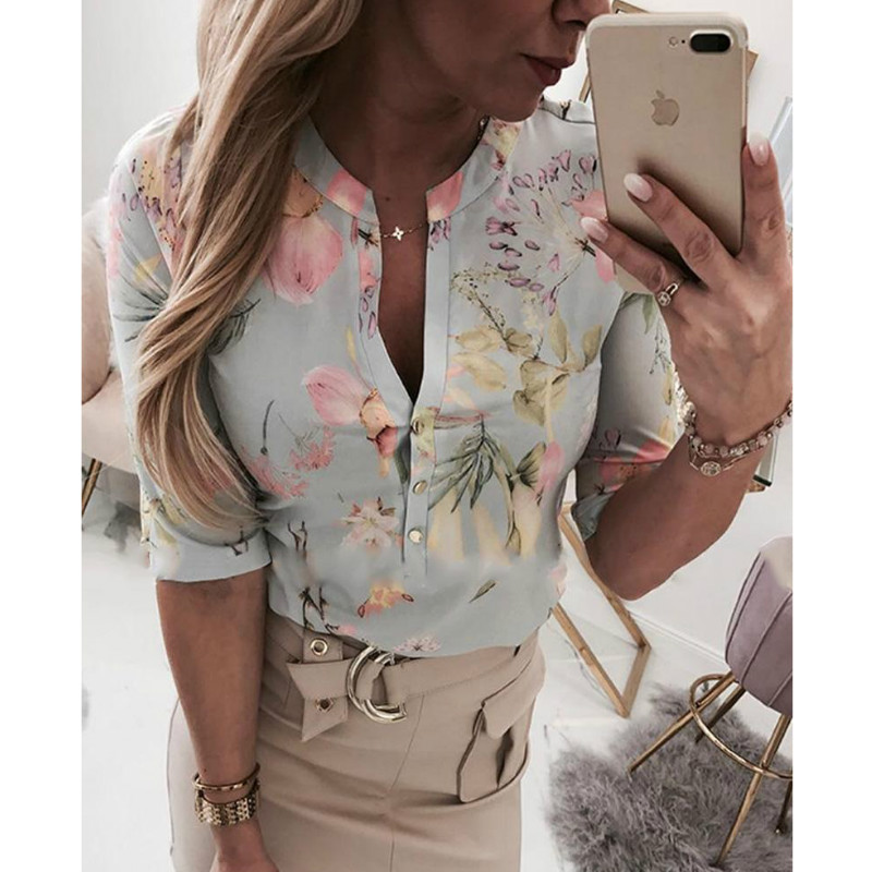 Women Long Half Sleeve Loose   Shirts     Shirt   OL Clothes Plain Casual Button   Blouse   Office Lady Summer Chiffon   Shirts   blusa feminina