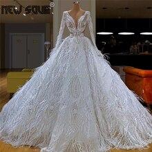 공주 긴 깃털 이슬람 공식 파티 드레스 푹신한 두바이 레이스 이브닝 드레스 2020 사우디 아라비아 Kaftans 미식가 Vestido