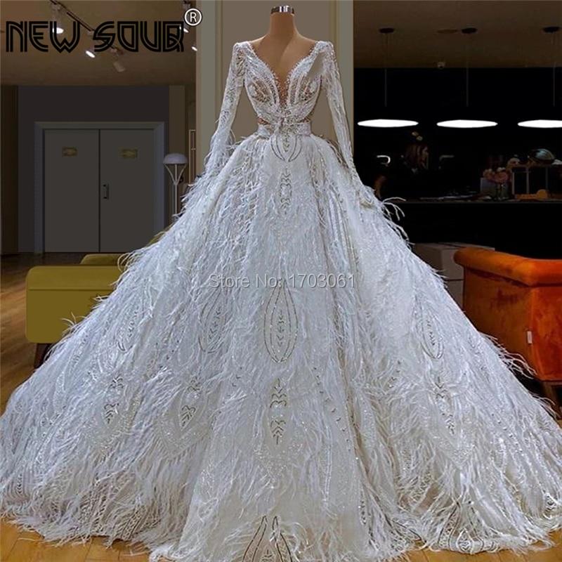Princess Long Feathers Islamic Formal Prom   Dresses   Puffy Dubai Lace   Evening     Dress   2020 Saudi Arabic Kaftans Pageant Gown Vestido