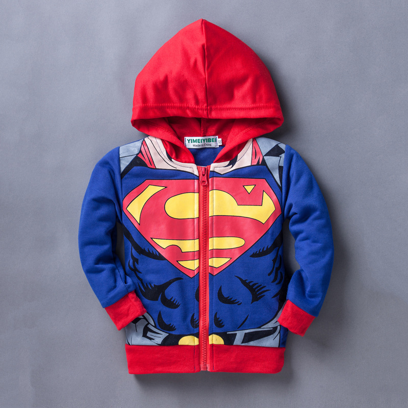 2019 Autumn Winter Spiderman Jackets For Boys Kids Coat Jackets Children Superman Hooded Outerwear Coat For Baby Boys Clothes