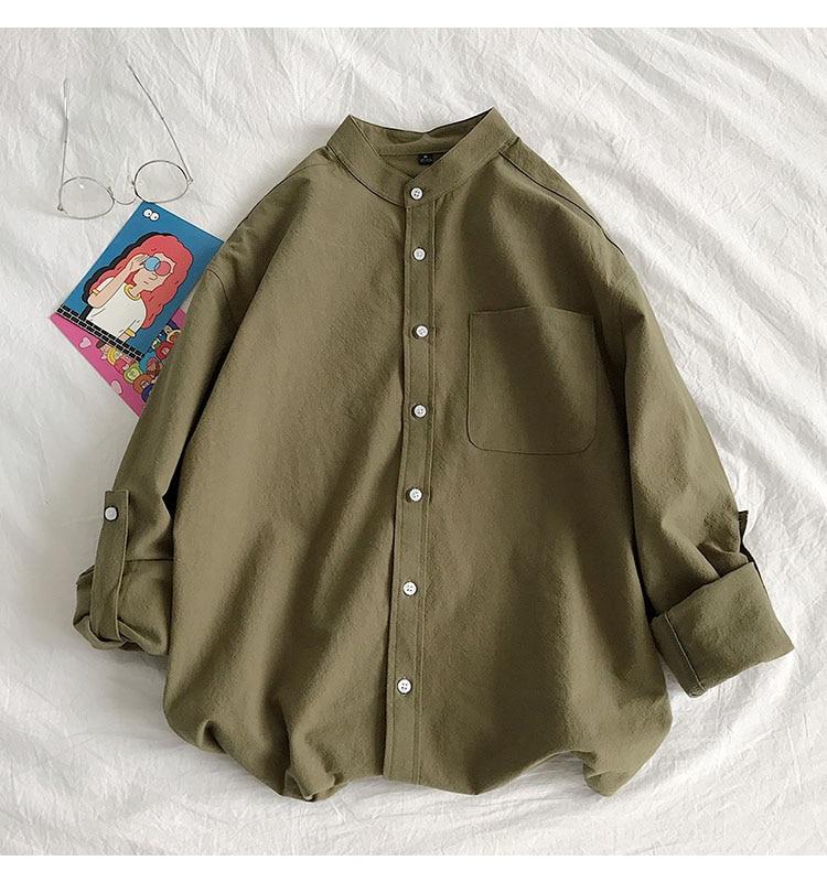 Hbba70236da7541fe8c65beeb9ee639c5r Simple Design Solid Colors Long Sleeve Shirts Korean Fashion Mandarin Collar 100% Cotton White Black Shirt Soft and Comfort