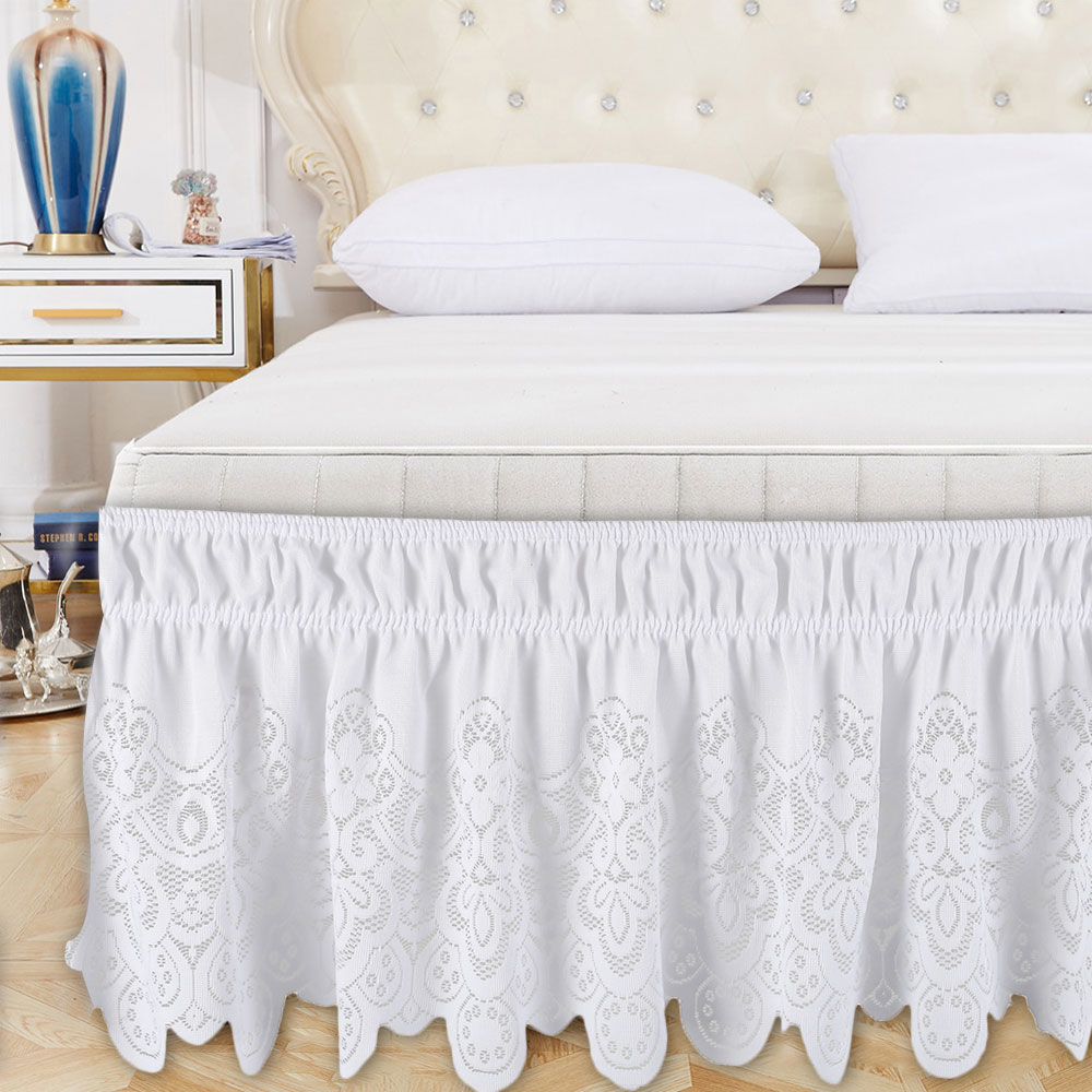 Hotel Queen Size Bed Skirt White Bed Shirts Without Surface Elastic Band Single Queen King Easy On/Easy Off Bed Skirt