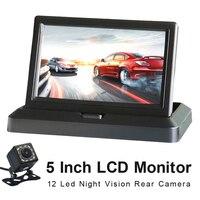 800*480 5 Inch TFT LCD Foldable Car Monitor Reverse Parking Monitor And 12 LED Night Vision Rear Camera