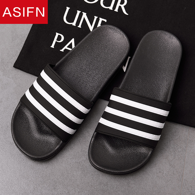 ASIFN Men Slippers EVA Slides Male Shoes Non-slip Black White Stripes Casual Summer Beach Flip Flops Zapatos Hombre Big Size