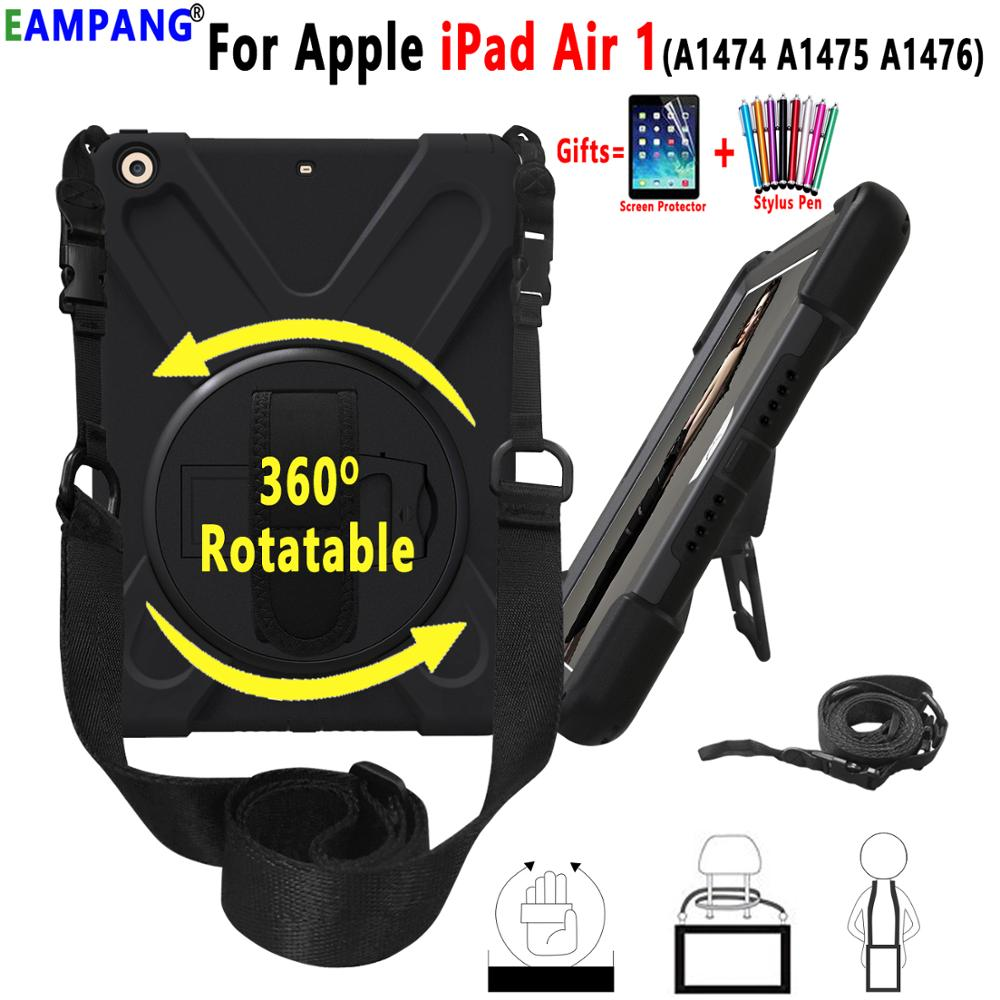 360 Rotating Armor Shockproof Case for Apple iPad Air 1 9.7 iPad 5 A1474 A1475 <font><b>A1476</b></font> Case Hand Shoulder Strap Cover Coque Funda image