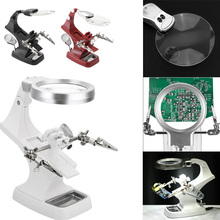 10 LED Adjustable Soldering Iron Stand LED Light Magnifying Glass Stand Helping Hands Magnifier Station with Clamp and  Clips