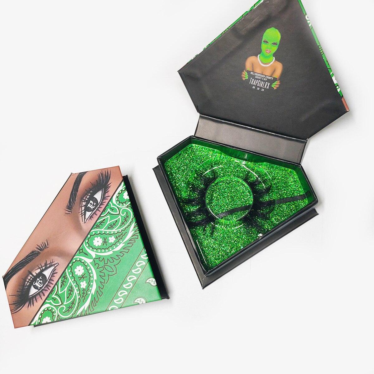 2020 New Green Diamond Mink Eyelashes Packaging Box Custom Mink Lashes Case 100PCS Private Label Free Transparent Lash Holder