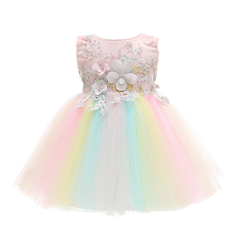 Fleur fille robe arc-en-ciel couleur dentelle Tutu avec magnifique Floral Applique enfants vêtements nouveau-né bébé fille première robe d'anniversaire