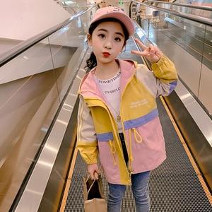 Cuhk crianças com capuz trench primavera adolescente menina à prova de vento casaco moda zíper solto blusão casual criança crianças outerwear